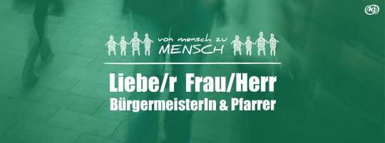 """Logo """"Vom Mensch zu Mensch"""" plus Schriftzug: Liebe/r Frau/Herr Bürgermeister/in und Pfarrer"""