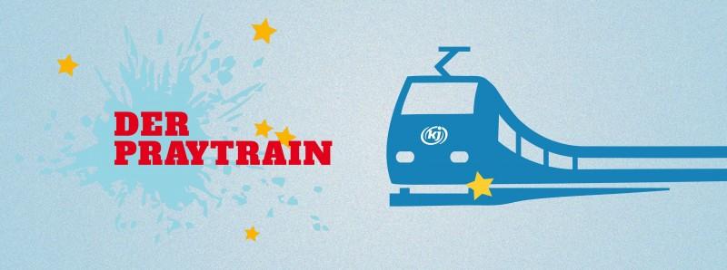 Grafik: Schrift: Der Praytrain plus Bild von Zug