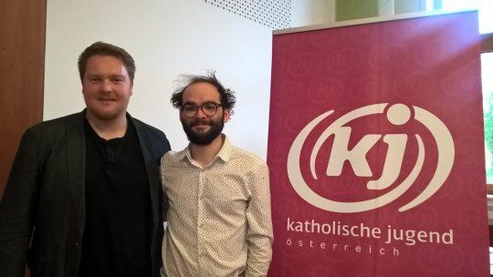 Die KJÖ-Vorsitzenden Matthias Kreuzriegler und Harald Rechberger